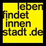 """Logo Aktive Ortsmitte """"Leben findet Innenstadt"""" auf gelben Grund"""